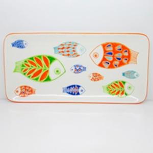 Plato rectangular de porcelana blanca con diseño de peces de 37cm