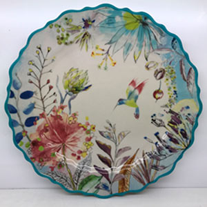 Platon redondo de porcelana diseño flores de 36cm