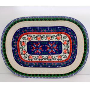 Platon de porcelana diseño grecas en verde y azul con rojo de 42cm