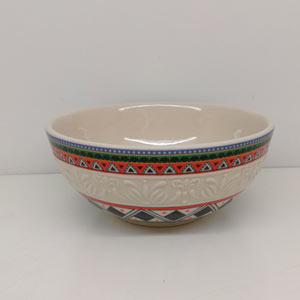 Bowl de porcelana diseño grecas verde y rojo de 16cm