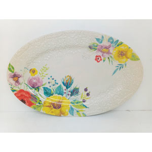 Platon oval de porcelana diseño flores con grabado de 42cm