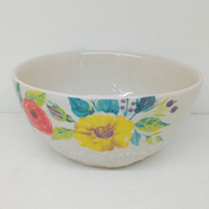 Bowl de porcelana diseño flores con grabado de 18cm