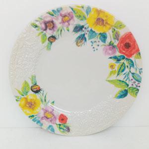 Plato de porcelana diseño flores con grabado de 28cm