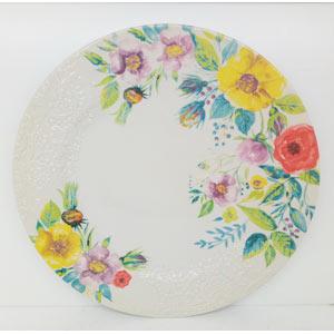 Platon de porcelana diseño flores con grabado de 36cm