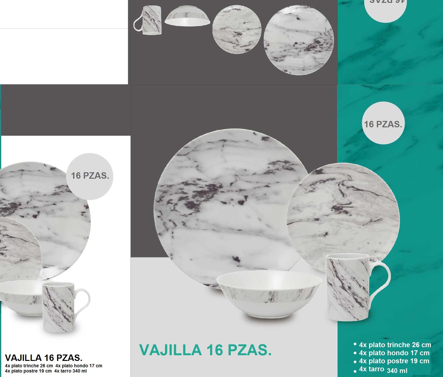 Vajilla de porcelana p/4 personas de 16pzas imitación Mármol blanco c/gris