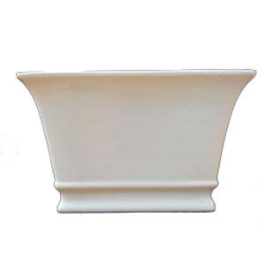 Maceta de cerámica rectangular blanca de 12x18.5 cm