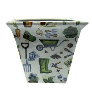 Maceta de cerámica con estampado de herramientas de jardín 7