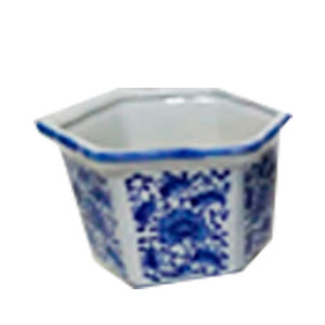 Maceta Hexagonal de porcelana blanca diseño  flores azules de 11cm