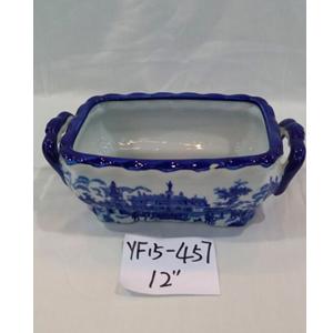 Maceta con asas de porcelana Inglesa azul de 32x15cm