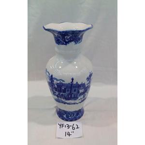 Florero de Porcelana inglesa azul con paisaje de 35cm