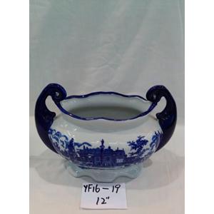 Maceta oval con asas de porcelana Inglesa azul de 30x14cm