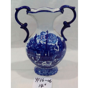 Florero c/asa de Porcelana inglesa azul con paisaje de 36cm