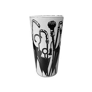 Paragüero de porcelana estampado sombrillas negras de 46cm