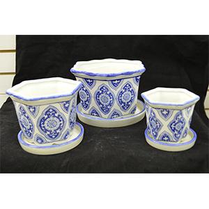 Juego de 3 macetas d/porcelana de mosaicos azules de 10, 15 y 20cm