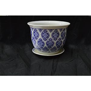 Maceta redonda diseño mosaicos azules de 25x20cm