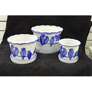 Juego de 3 maceta de porcelana redondas diseño pajaritos de 10, 15 y 20cm