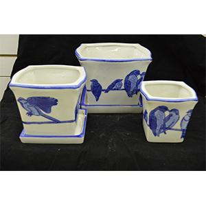Juego de 3 macetas de porcelana cuadradas diseño pajaritos de 10, 15 y 20cm