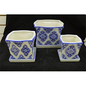 Juego de 3 macetas de porcelana diseño mosaicos azules de 10, 15 y 20cm