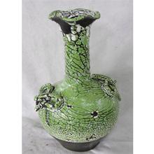 Jarrón de cerámica craquelado verde con café diseño Fenicio 23x22x48cm