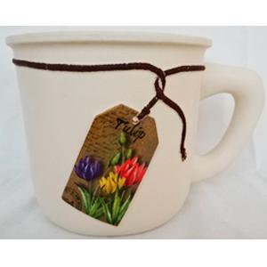 Maceta de cerámica beige diseño taza con etiqueta de tulipanes de 20x14.5x13.5cm