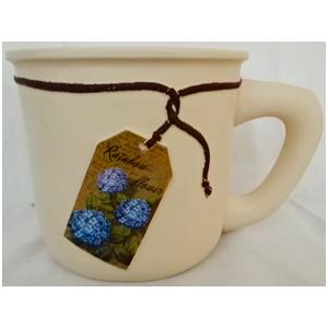 Maceta de cerámica beige diseño taza con etiqueta de Hortensias de 20x14.5x13.5cm