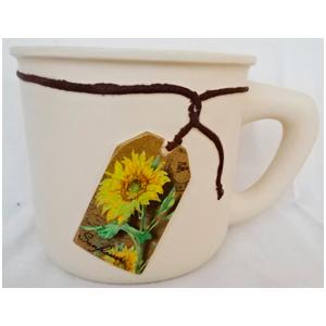 Maceta de cerámica diseño taza c/etiqueta de Girasoles de 20x14.5x13.5cm