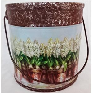 Maceta de cerámica diseño cubeta c/asa estampado de flores blancas de 15.8x15.8cm
