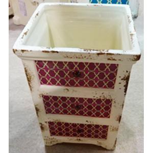 Maceta de cerámica diseño Cajonera beige c/rombos morados de 12x12x17cm