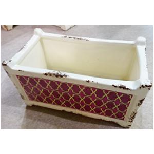 Maceta de cerámica diseño Cajonera beige c/rombos morados de 15.5x8.5x8.5cm