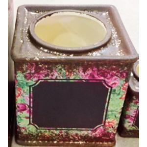 Maceta de cerámica rosa/verde con pizarra para escribir de 11.5x11.5x12cm