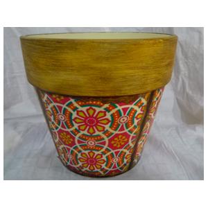 Maceta de cerámica c/orilla amarilla diseño mosaicos de flores rojas de 16x15cm