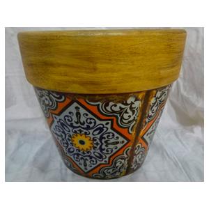 Maceta de cerámica c/orilla amarilla diseño mosaicos de flores naranja de 16x15cm