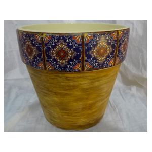 Maceta de cerámica amarilla con orilla de mosaicos azules de 16x15cm