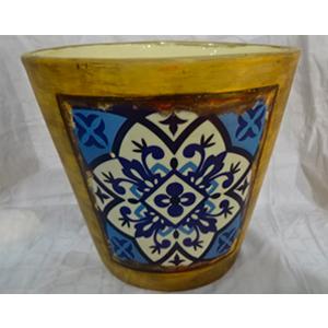 Maceta de cerámica amarilla con diseño de mosaico azul de 16x15cm
