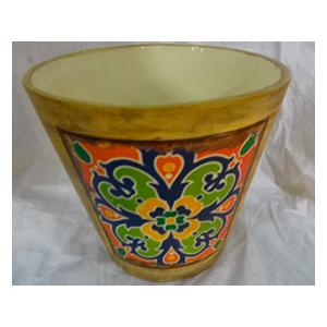 Maceta de cerámica amarilla diseño de mosaico naranja de 16x15cm