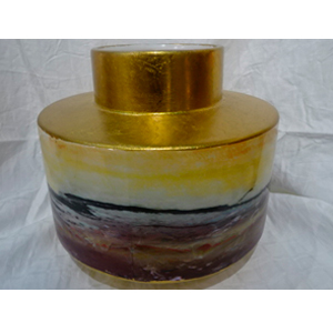 Florero de cerámica dorado diseño cuarzo café con amarillo de 18X15.5cm