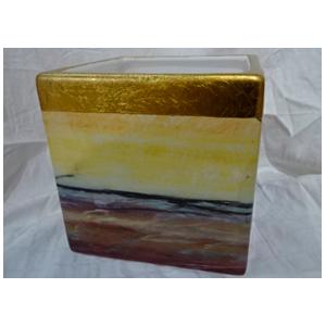 Florero de cerámica diseño cuarzos café con amarillo de 13x13x13cm