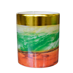 Florero de cerámica cilíndrico diseño cuarzos verde con naranja de 18x15.5cm