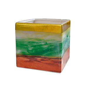 Florero de cerámica diseño cuarzos verde con naranja de 13x13x13cm