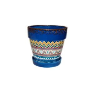 Maceta terminado antiguo azul turquesa con diseño rombos de colores de 14x12.5cm