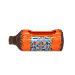 Maceta diseño Botella naranja con estampado de azulejo de 26x11x10cm