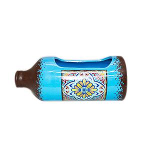 Maceta diseño Botella azul con estampado de azulejo de 26x11x10cm