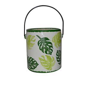 Maceta diseño bote de pintura verde estampado de hojas de 14x13x15cm