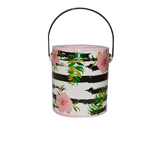 Maceta diseño bote de pintura rosas estampado de rosas de 14x13x15cm