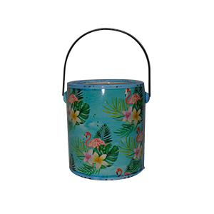 Maceta diseño bote de pintura azul con estampado de flamingos de 14x13x15cm