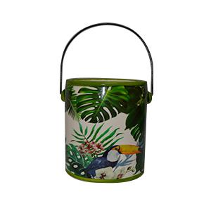 Maceta diseño bote de pintura verde estampado de plantas de 14x13x15cm