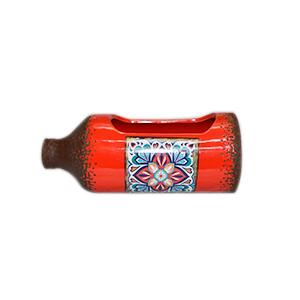 Maceta diseño Botella roja con estampado de azulejo de 26x11x10cm