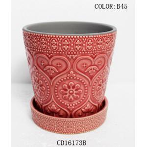 Maceta de ceramica con plato diseño grabado en color rosa de 13x13x12cm