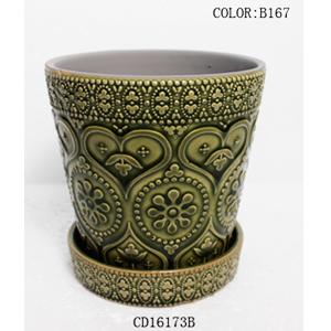 Maceta de ceramica con plato diseño grabado en color verde de 13x13x12cm