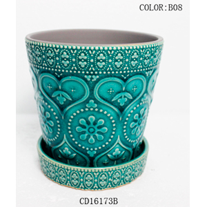 Maceta de ceramica con plato diseño grabado en color turqueza de 13x13x12cm
